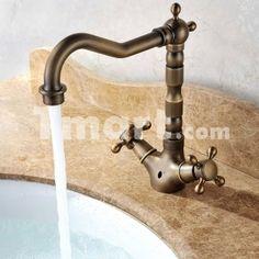 Antique Copper Double Handles Kitchen Sink Bathroom Basin Cross Handle Faucets Mixer Taps