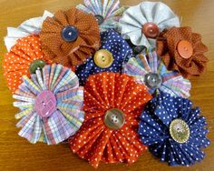 Ruffled Fabric Flower Corsage . . . Reware Vintage!!