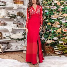 Red Patchwork Lace Irregular Slit Deep V-neck Backless Prom Evening Party Maxi Dress Cheap Party Dresses, Party Dresses Online, Formal Dresses, Floral Maxi Dress, Dress Skirt, Lace Dress, Summer Dress Outfits, Casual Outfits, Short Mini Dress