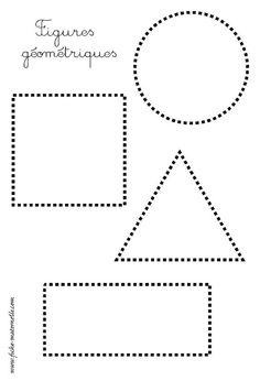 les figures géométriques : repasser les pointillés: