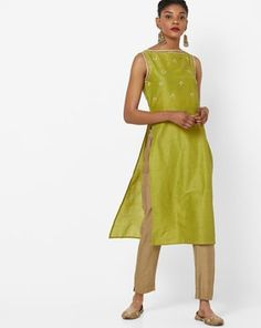 Check out Embroidered Slim Fit Straight Kurta with Sequin Embellishments on AJIO! Embellishments, Sequins, India, Slim, Summer Dresses, Fitness, Green, Check, Shopping