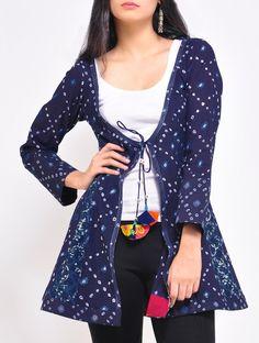 Buy Indigo Angrakha Bandhani Top Cotton Online at Jaypore.com