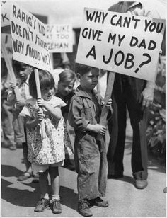 Children Holding Signs At A Picket Line In 1937