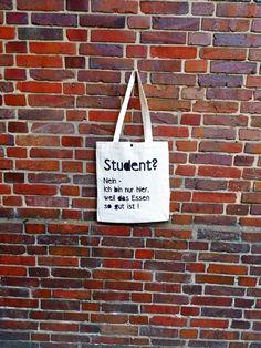 Jutebeutel mit witzigem Spruch, das passende Geschenk für Studenten / tote bag with funny quote by purple via DaWanda.com