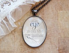 His Eye is on the sparrow Vintage - Long Oval Pendant Necklace
