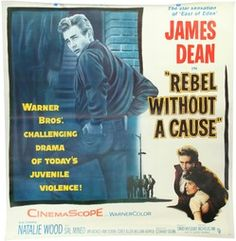 Large American movie poster circa 1956. Six sheet poster for Rebel Without A Cause starring James Dean and Natalie Wood, linen backed. p4a.com