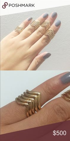 🆕 V Midi Ring I'm really excited about my first boutique item!! It is a v midi ring. It can either be worn on the pinky finger or as a regular ring. My ring finger is a 7 and they fit perfectly there! It is non adjustable and the material is alloy. This listing is for 1 ring, not a set. October Love Jewelry Rings