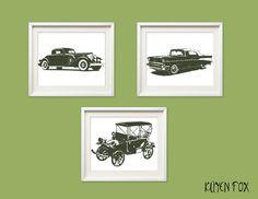 Vintage Car Wall Art Old Nursery Kids Decor Cars Print