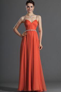 Robe de soirée, cocktail longue mousseline plissé orange bretelles fines pierres de cristal 00121610