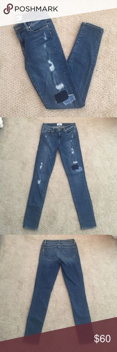 Paige Distressed Skinny Jeans These Paige distressed skinny jeans have been worn/washed once- in excellent condition! Mid rise and regular inseam. Distressed style with patches. Paige Jeans Jeans Skinny