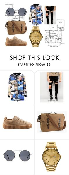 """The New Boy From New York"" by natnizzle ❤ liked on Polyvore featuring Blood Brother, Reclaimed Vintage, Puma, J.Crew, Forever 21, Nixon, men's fashion and menswear"