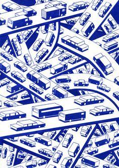 "kevinlucbert: "" The interchange 21 x ink on paper, Kevin Lucbert, 2016 "" Mises En Page Design Graphique, Illustration Design Graphique, Flat Illustration, Textures Patterns, Print Patterns, Arte Popular, Grafik Design, Illustrators, Architecture"