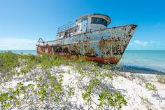 The Erzulie Transport ship wreck off North Caicos, Turks and Caicos.