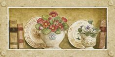 Potted Flowers with Plates and Books IV (Eric Barjot)