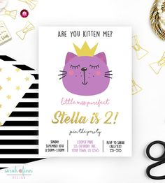 Kitty Cat Birthday Party Invitation Printable Invitations Printables Places