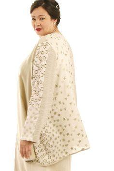 Wedding Dress Plus Size Jacket Ivory Champagne Gold