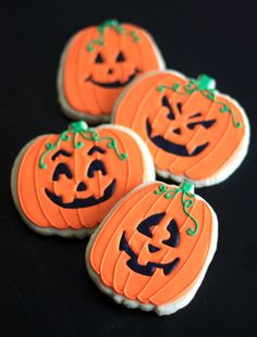 Hand Decorated Sugar Cookies Halloween Pumpkins Jack-o-Lanterns // 1 Dozen. $48.00, via Etsy.