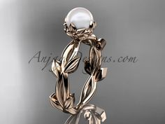 Buy the simple affordable engagement rings under 1000 online at anjaysdesigns.com Free shipping. Rose gold flower and leaf wedding ring without diamonds AP522