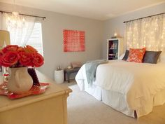 """Master Bedroom Makeover on a Budget - The Palette Muse. Loved everything about this. Could do it in my own color scheme. Especially loved the """"headboard"""""""