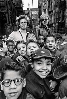 Larry Fink, Gerard Malanga and Andy Warhol with Lower East Side schoolchildren.