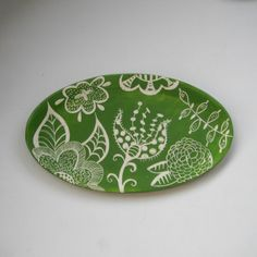 Serving Platter Green Floral Lace-ready to ship