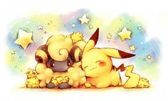 Mareep, Joltik, and Pikachu