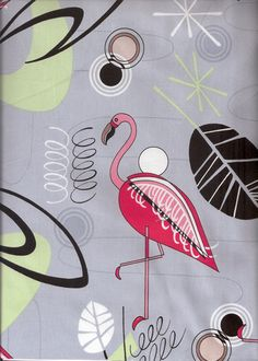 12welo - This fun cotton apparel weight fabric features abstract atomic, sixties, 60's, flamingo, space-age motifs. While it lasts it's available in silver, natural pink and Turquoise background colors.  More fabrics at: BarkclothHawaii.com