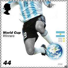 Estampilla Conmemorativa de Inglaterra. Campeones Mundiales en 1986 y 1978.   ~lbk~