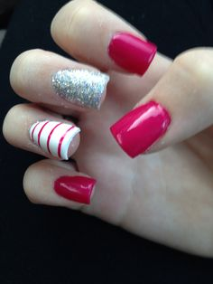 Red, White, and Grey Glitter with Strips Nail Art Design