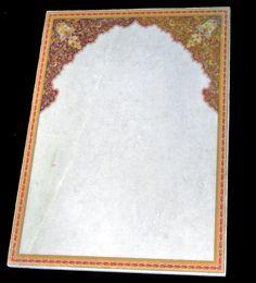 A Mughal naqashi style Pikscape fresco art on Indian marble