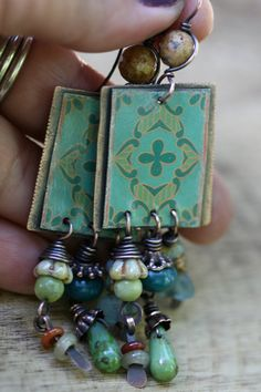 Boho Decorative Vintage Tin Jewelry Mandala in Green by Tribalis