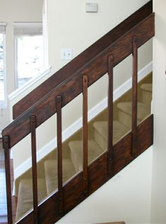 '80s banister redo with General Finishes stain in Java-stain kitchen cupboards like this