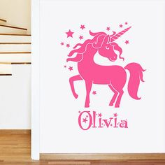 Personalised Unicorn Girls Name Childrens Wall Sticker - Art Vinyl Decal