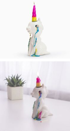 This unicorn novelty candle cries adorable rainbow-colored tears when you light it.