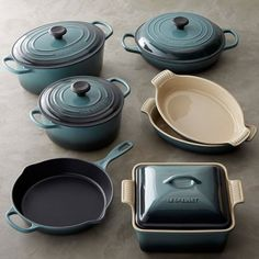 "dream gift: 10-pc le creuset set in ocean. 10"" skillet, 3 1/2 qt braiser, 4 1/2 qt round dutch oven, 6 3/4 qt oval french oven, 4 qt covered square casserole, 2x 11"" au gratins. $1000"