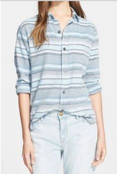 4bb12dd71f NWT  208 Current Elliott Blue Striped Button Down Cotton Shirt Blouse 3  (Large)
