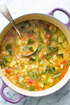 Minestrone soup featuring fresh summer garden vegetables! With zucchini, tomatoes, green beans, celery, bell pepper, chicken stock, white beans, and pasta. It's summer in a soup! On SimplyRecipes.com