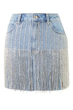 DIY Split Leg Pants (No Sewing Required) Topshop Moto crystal seam denim skirt Rock Dress, Denim Fashion, Fashion Outfits, Fashion Clothes, Denim And Diamonds, Diy Vetement, Topshop Skirts, Fringe Skirt, Jeans Rock