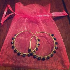 Black and gold earrings. Gold hoops with black beads. Jewelry Earrings