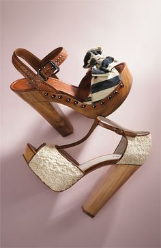 love wooden heels, especially with that lace!