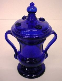 Cobalt Blue Glass Covered Bowl. Collection Search   Corning Museum of Glass