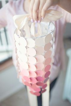 DIY paint swatch chandelier  I wanted a pink chandelier for my office and this is how I'm going to get it!  via heygorg.com