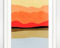 Large Modern Art Print, Mid Century Art, Abstract Landscape Art, Modern Abstract Art, Minimalist Art, Mountain Home Decor