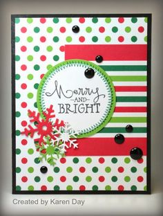 Handmade holiday card by Karen Day using the Merry & Bright stamp set from Verve.  #vervestamps