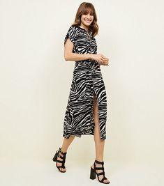 79fddcffad0 Black Zebra Print Midi Shirt Dress