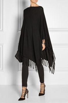 DKNY - Fringed black poncho.