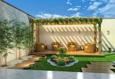 Pergolado de Madeira Diy Pergola, Small Garden Pergola, Small Backyard Patio, Backyard Patio Designs, Pergola Shade, Pergola Designs, Diy Patio, Pergola Ideas, Pergola Kits