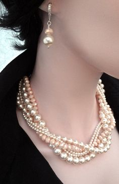 Chunky Pearl necklace Swarovski pearls by QueenMeJewelryLLC