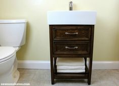 Check out the plans for this small DIY vanity. It features book-matched panels, faux drawers and an IKEA Yddingen sink. It's BIG on style, but fits in a small space! Bathroom Vanity Stool, Diy Vanity Mirror, Master Bathroom Vanity, Small Bathroom Vanities, Small Vanity, Blue Bathroom Interior, Diy Bathroom Decor, Simple Bathroom, Bathroom Furniture