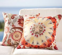 Malena Outdoor Pillows - Warm #potterybarn    I am adding 2 of the Medallion Pillows to my sofa.